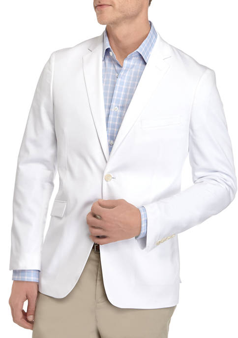 Mens White Solid Stretch Sport Coat