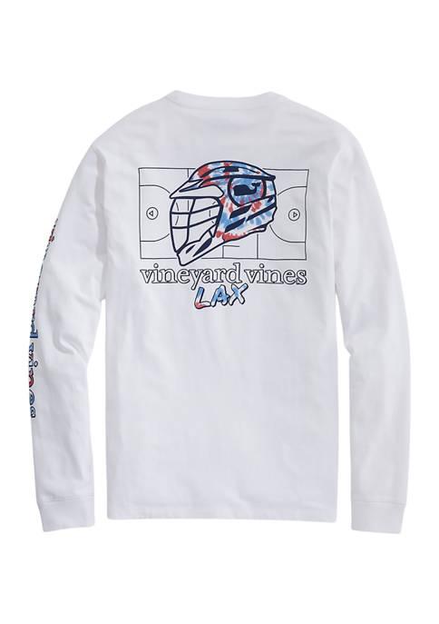 Tie Dye LAX Helmet Long Sleeve Pocket Graphic T-Shirt