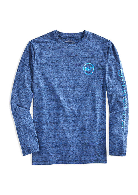 Mens Camouflage Whale Dot Long Sleeve Harbor T-Shirt