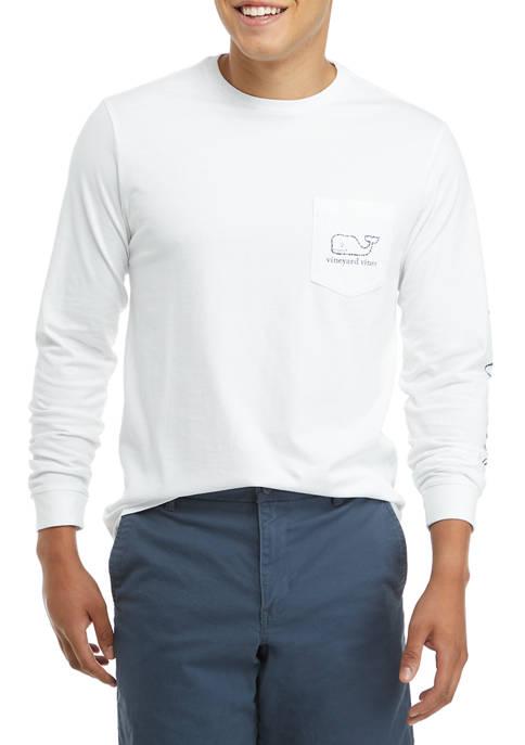 Mens Long Sleeve Vintage Whale Pocket T-Shirt
