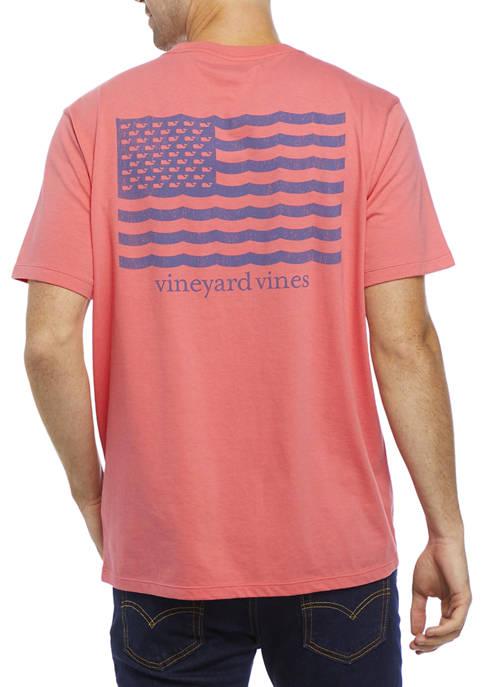 Short Sleeve Waves Flag Graphic T-Shirt