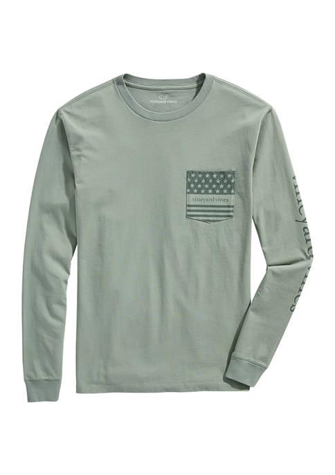 Patriotic Logo Long-Sleeve Pocket T-Shirt