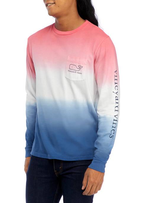 Mens Dip Dye Long Sleeve Vintage Whale Pocket Graphic T-Shirt