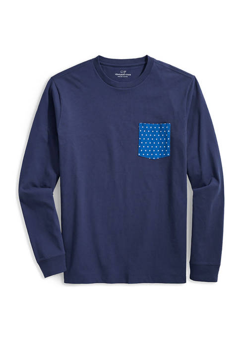 Stars & Stripes Logo Box Long Sleeve Pocket Graphic T-Shirt