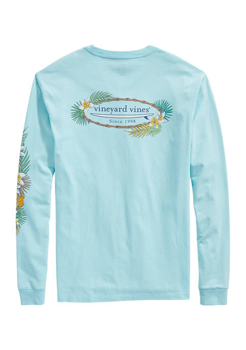 Tropical Surf Logo Long Sleeve Pocket Graphic T-Shirt