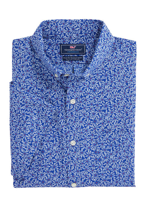 Slim Fit Floral Short Sleeve On-The-Go Shirt in Performance Nylon