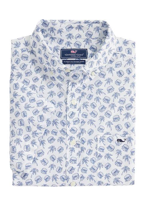 Mens Sliders Short Sleeve Button Down Shirt