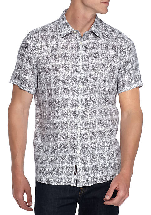 Michael Kors Short Sleeve Paxton Print Button Down