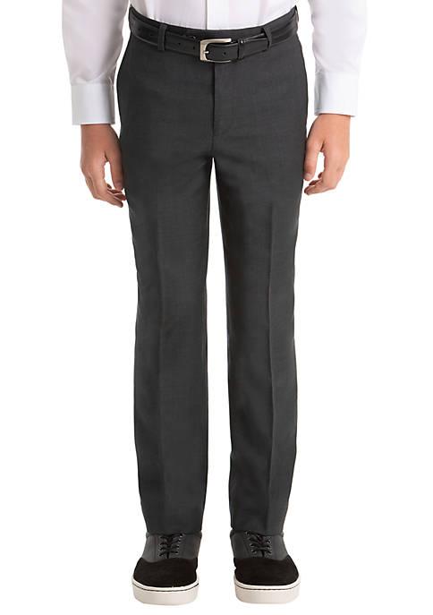 Boys 8-20 Gray Plain Wool Straight Pants