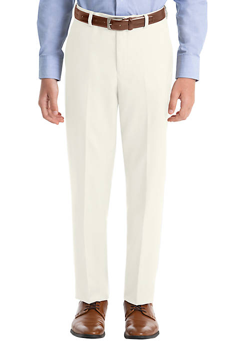 Boys 8-20 Off White Twill Wool Straight Pants