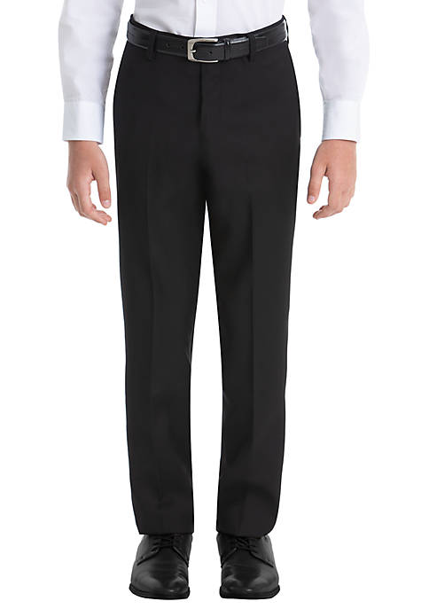 Boys 8-20 Plain Black Wool Straight Pants