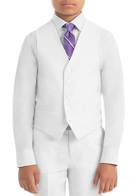 Boys 8-20 Plain White Linen Vest