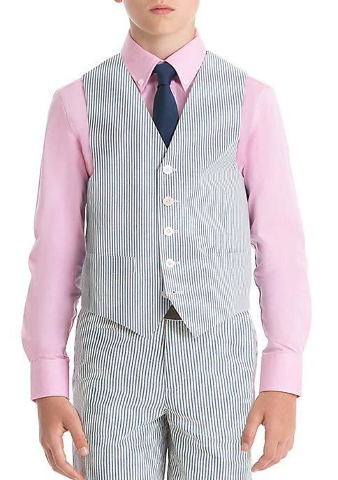 Boys 8-20 Blue Stripe Cotton Vest