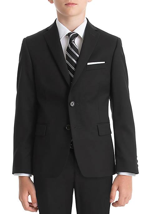 Boys 8-20 Black Solid Wool Natural Stretch Jacket