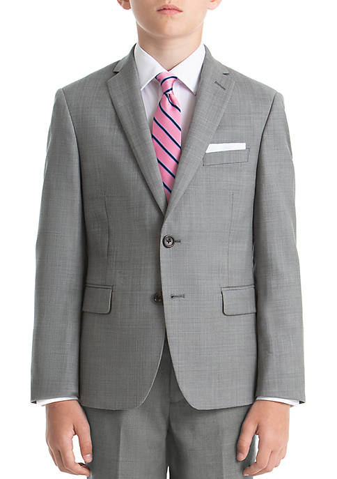 Boys 8-20 Gray Sharkskin Wool Natural Stretch Jacket