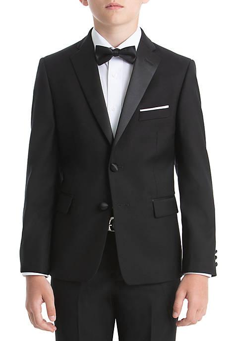 Boys 8-20 Plain Black Wool Coat