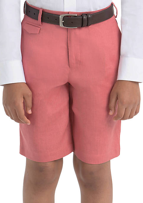 Boys 8-20 Plain Red Linen Shorts