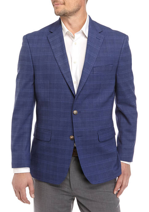 Chaps Mens Blue Textured Sport Coat