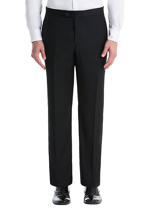 Black Plain Wool Straight Pants