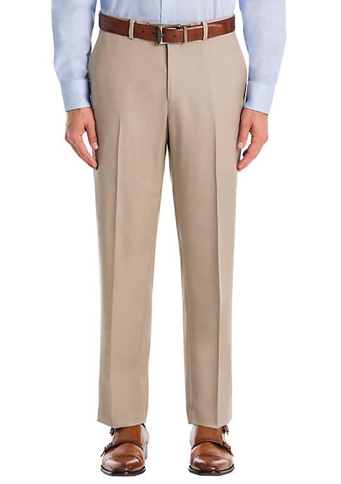 Plain Tan Wool Straight Pants
