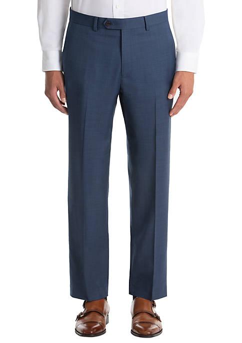 Blue Sharkskin Wool Straight Suit Separate Pants