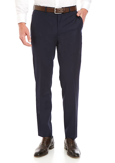 Navy Solid Dress Pants