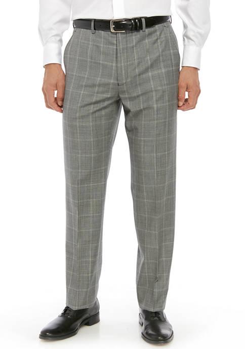 Lauren Ralph Lauren Mens Light Gray Windowpane Pants