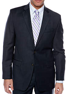Big & Tall Portly Ultraflex Windowpane Suit Separate Coat