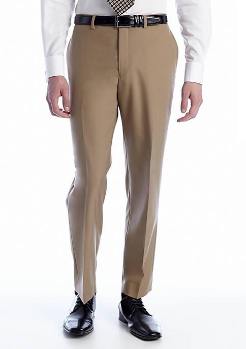 Tan Elvan Flat Front Pants