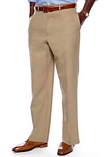 Straight Fit Flat Front Dress Pants