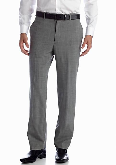 Black & White Wool Flat Front Pants