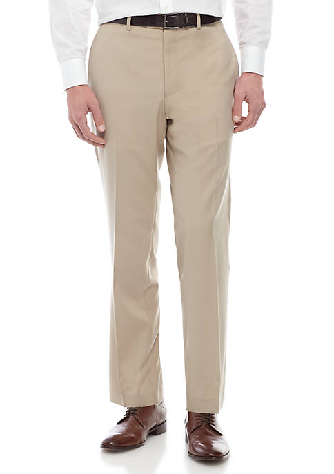 Light Tan Solid Stretch Flat Front Pants