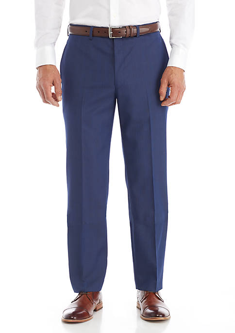 Lauren Ralph Lauren Blue Plaid Stretch Tailored Pants