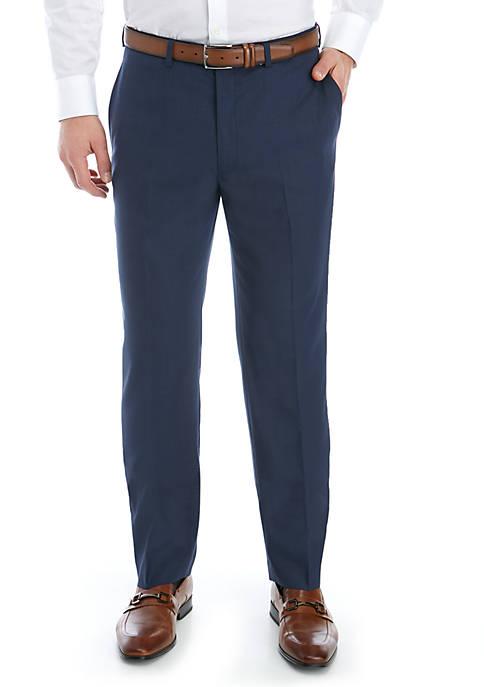 Blue Stretch Flat Front Pants