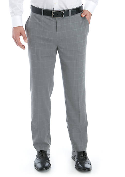 Lauren Ralph Lauren Light Gray Blue Windowpane Stretch