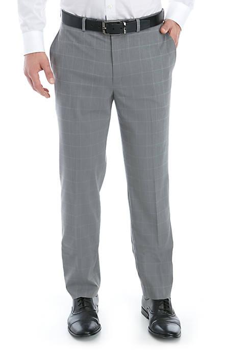 Light Gray Blue Windowpane Stretch Flat Front Pants