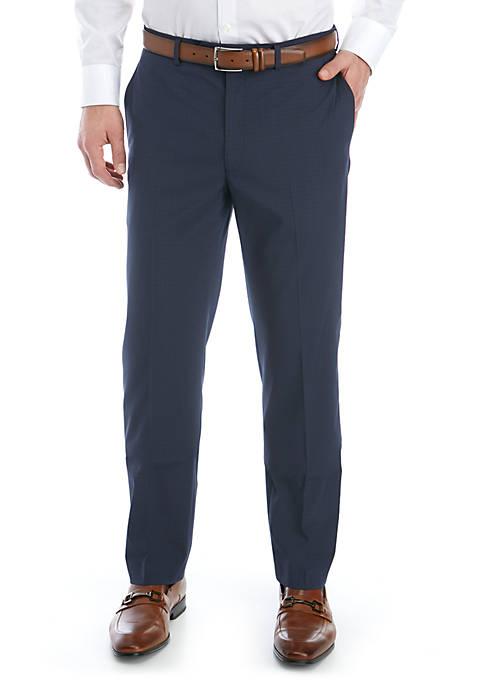 Blue Tic Stretch Flat Front Pants