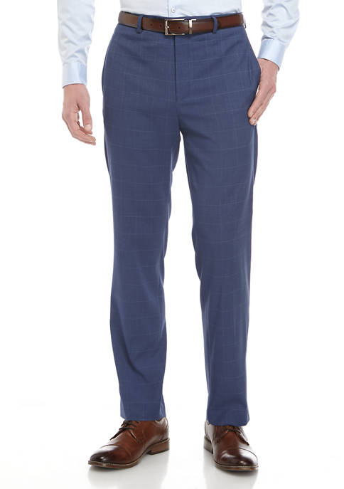 Lauren Ralph Lauren Mens Mid Blue Windowpane Stretch