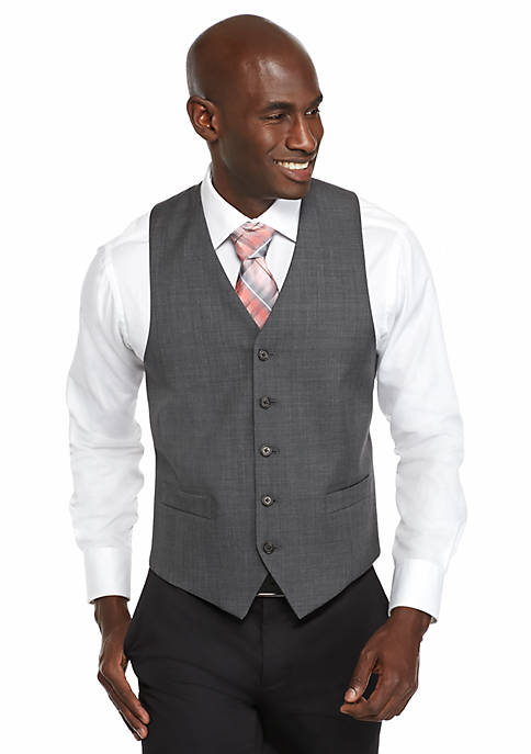 Classic-Fit Gray Sharkskin Suit Separate Vest