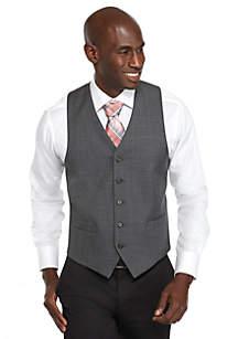 Classic-Fit Gray Sharkskin Suit Separate Vest
