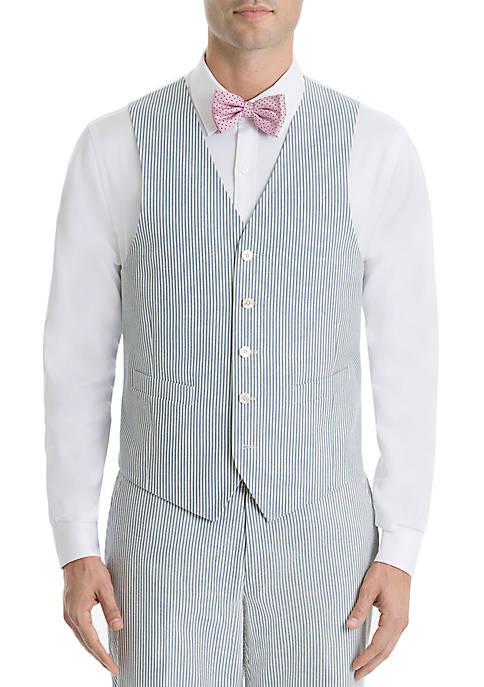 Blue Stripe Cotton Suit Separate Vest