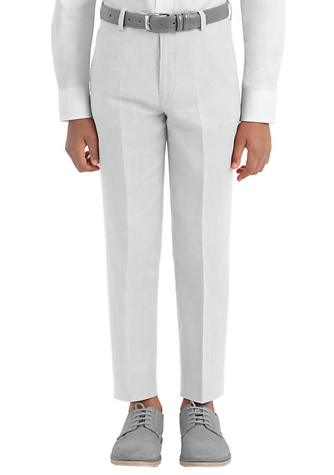 Boys 4-7 White Plain Linen Pants