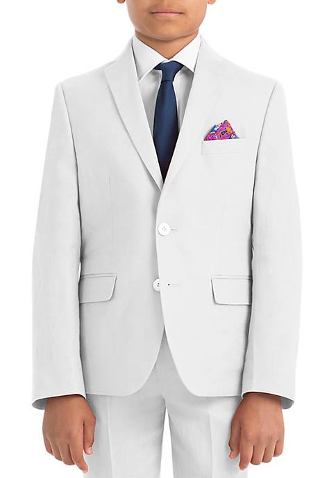 Boys 4-7 White Plain Linen Coat