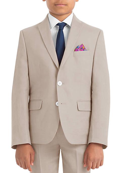 Boys 4-7 Tan Plain Linen Coat
