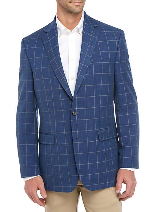 Bright Blue Windowpane Stretch Jacket