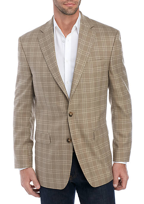 Light Tan Blue Deco Plaid Stretch Jacket