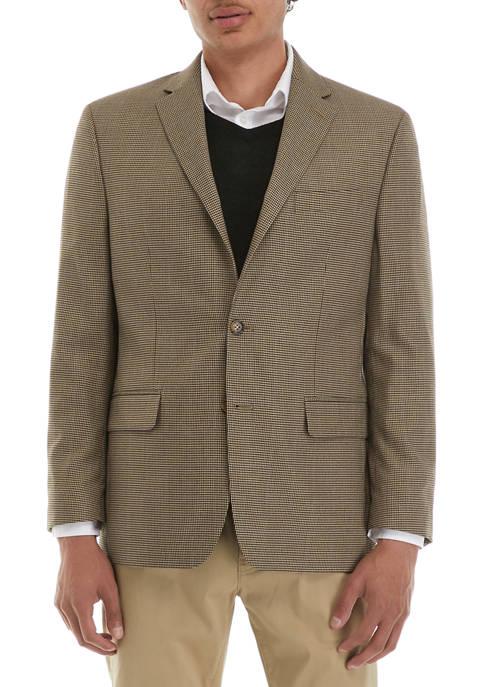 Mens Tan and Black Check Sport Coat