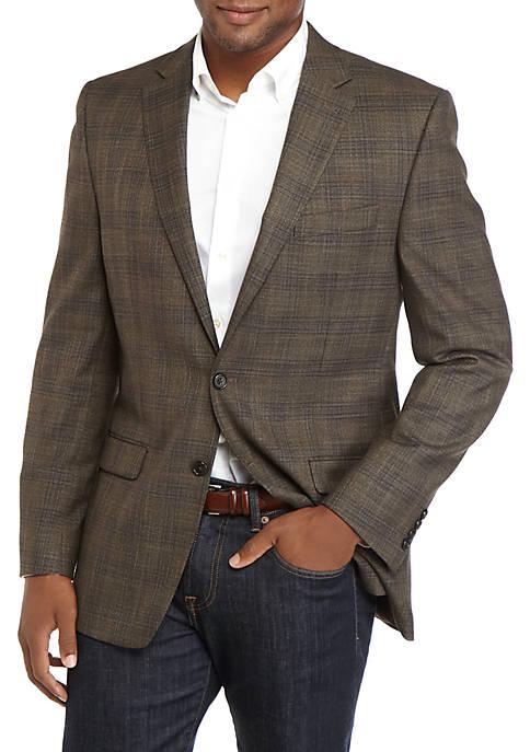 Mens Tan and Brown Plaid Sport Coat
