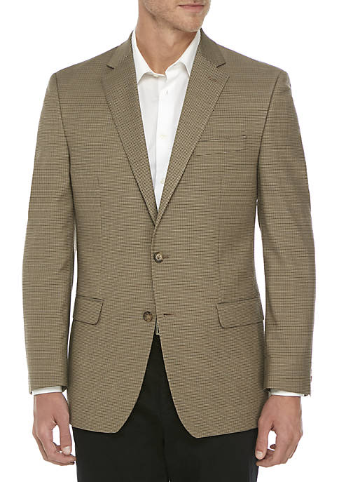 Brown Houndstooth Stretch Sport Coat