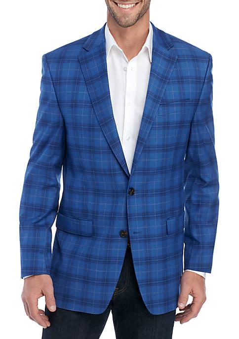 Big & Tall Bright Blue Plaid Stretch Jacket